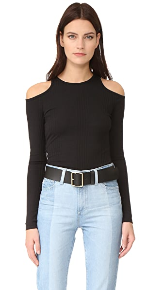 FRAME Пуловер из трикотажа в рубчик разного размера