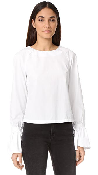 FRAME Voluminous Cuff Poplin Top - Blanc