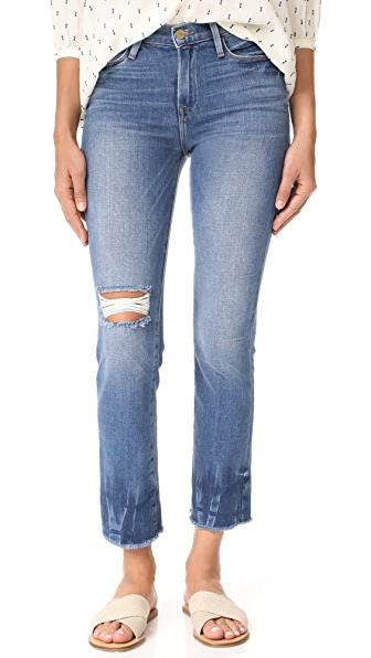 FRAME Le High Straight Raw Edge Fade Jeans - Merriweather