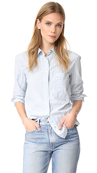 FRAME Boyfriend Poplin Shirt In Sky/Blanc Double Stripe