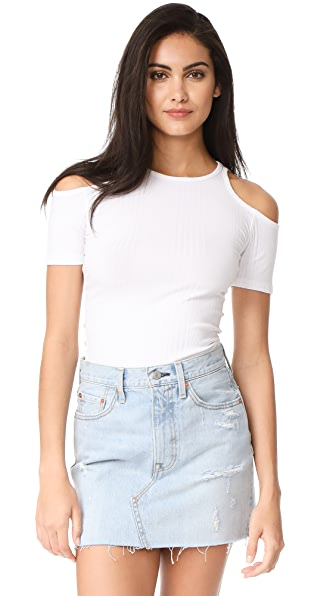 FRAME Variegated Cutout Tee In Blanc