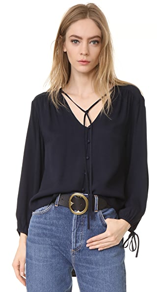 FRAME Crepe Lace Up Shirt In Navy