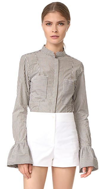 FRAME Striped Fitted Poplin Shirt