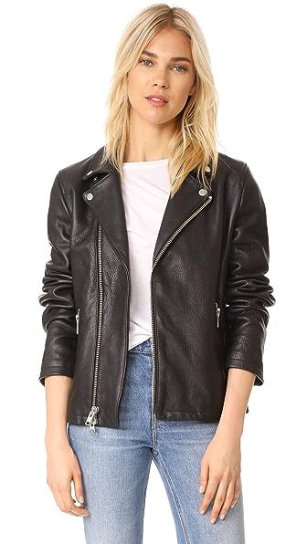 FRAME Oversized Moto Jacket In Noir