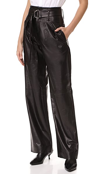 FRAME Wide Leg Trousers In Noir
