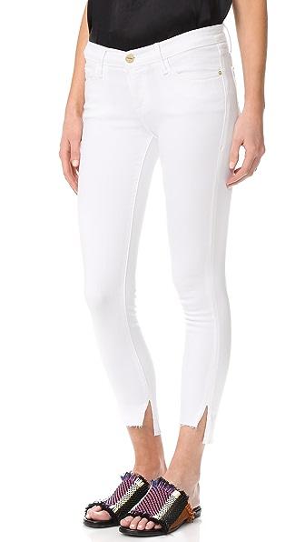 FRAME Le Skinny De Jeanne Stagger Hem Jeans In Blanc
