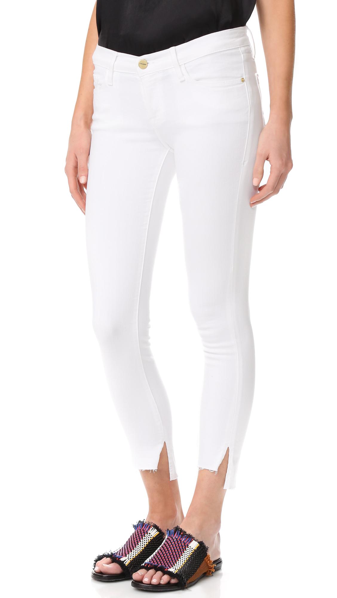 FRAME Le Skinny De Jeanne Stagger Hem Jeans - Blanc