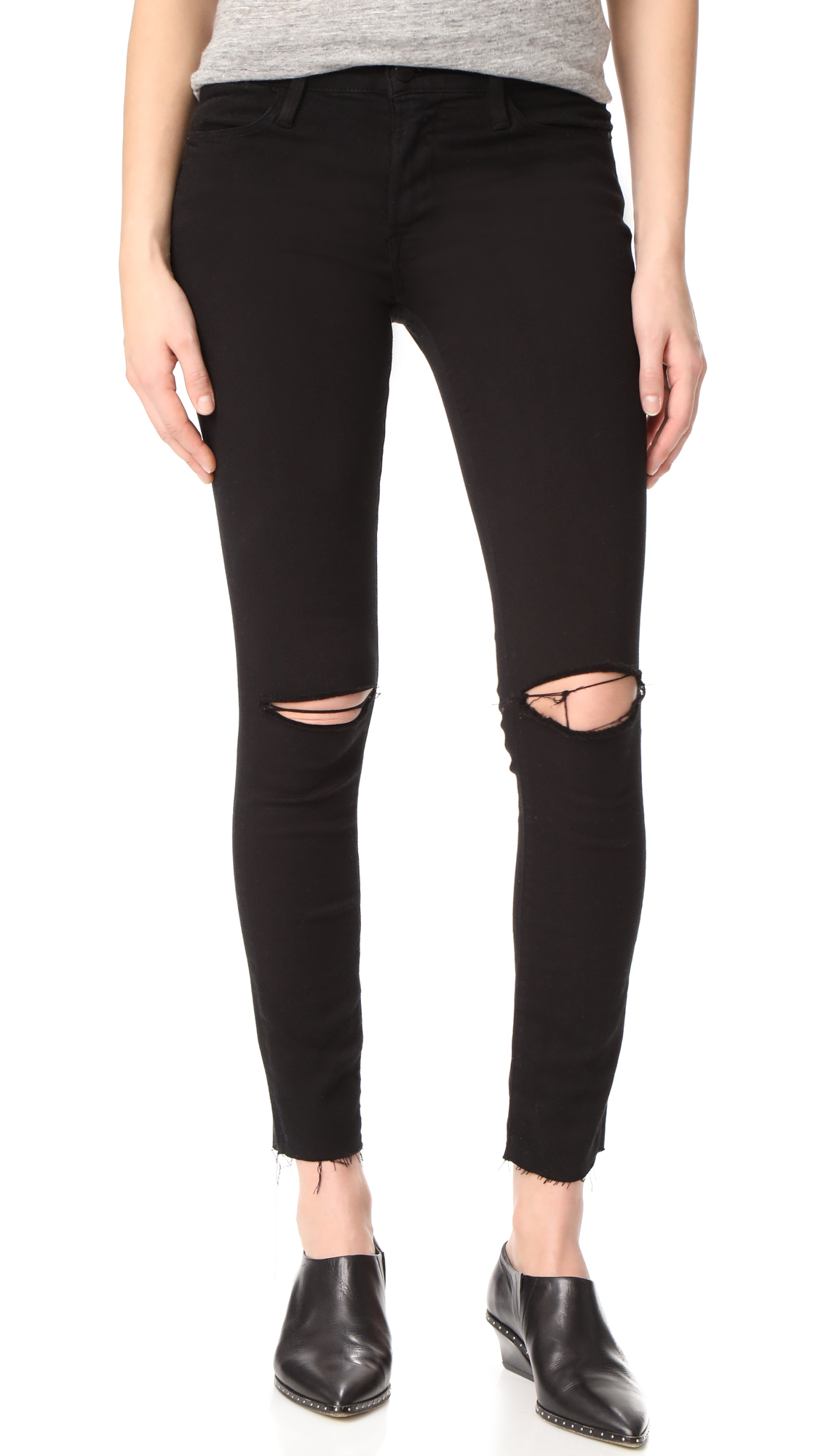 FRAME Le High Skinny Raw Edge Jeans - Noir Slits