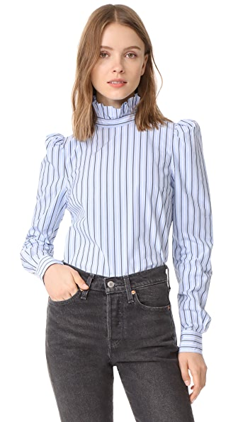 FRAME Ruffle Neck Shirt - Evening Blue Multi