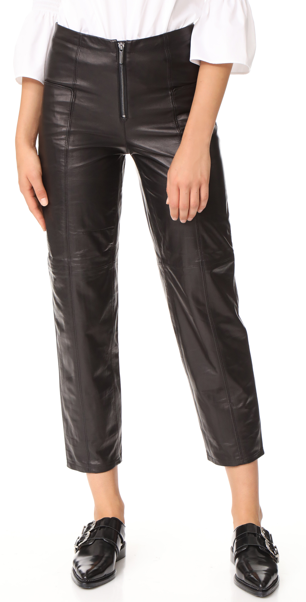 Zip Up Leather Trousers FRAME