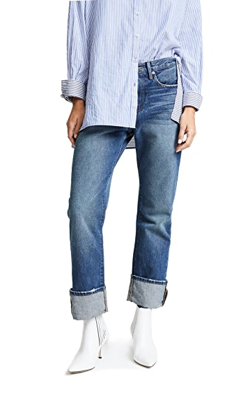 FRAME Le Oversized Cuff Jeans In Calvert