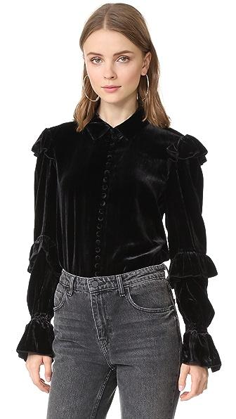 FRAME Velvet Victorian Ruffle Blouse In Noir