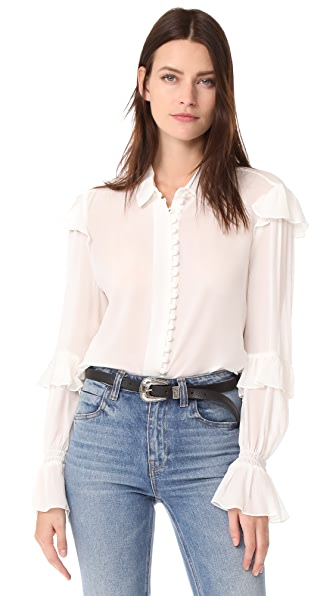 FRAME Victorian Ruffle Blouse In Off White