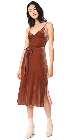 FRAME Velvet Slip Dress - Spice