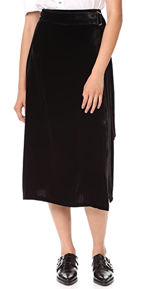 FRAME Velvet D Ring Wrap Skirt - Noir