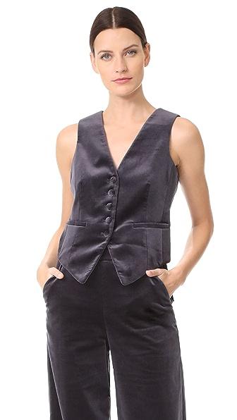 FRAME Velvet Vest In Charcoal