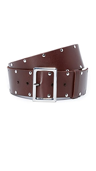 FRAME Studded Classic Belt - Chocolate