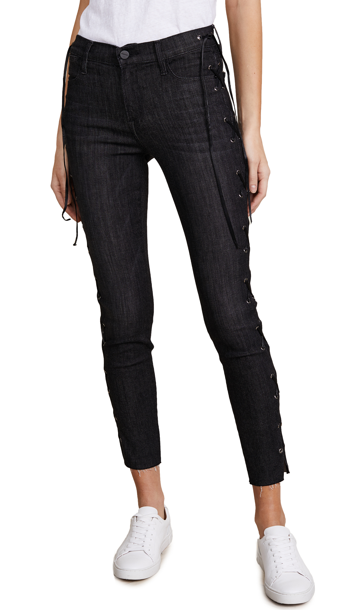 FRAME Le High Skinny Lace Up Side Jeans In Fulton