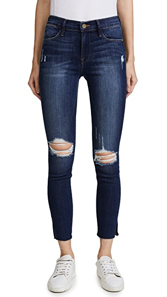 Le High Skinny Jean with Raw Edge Slit Rivet