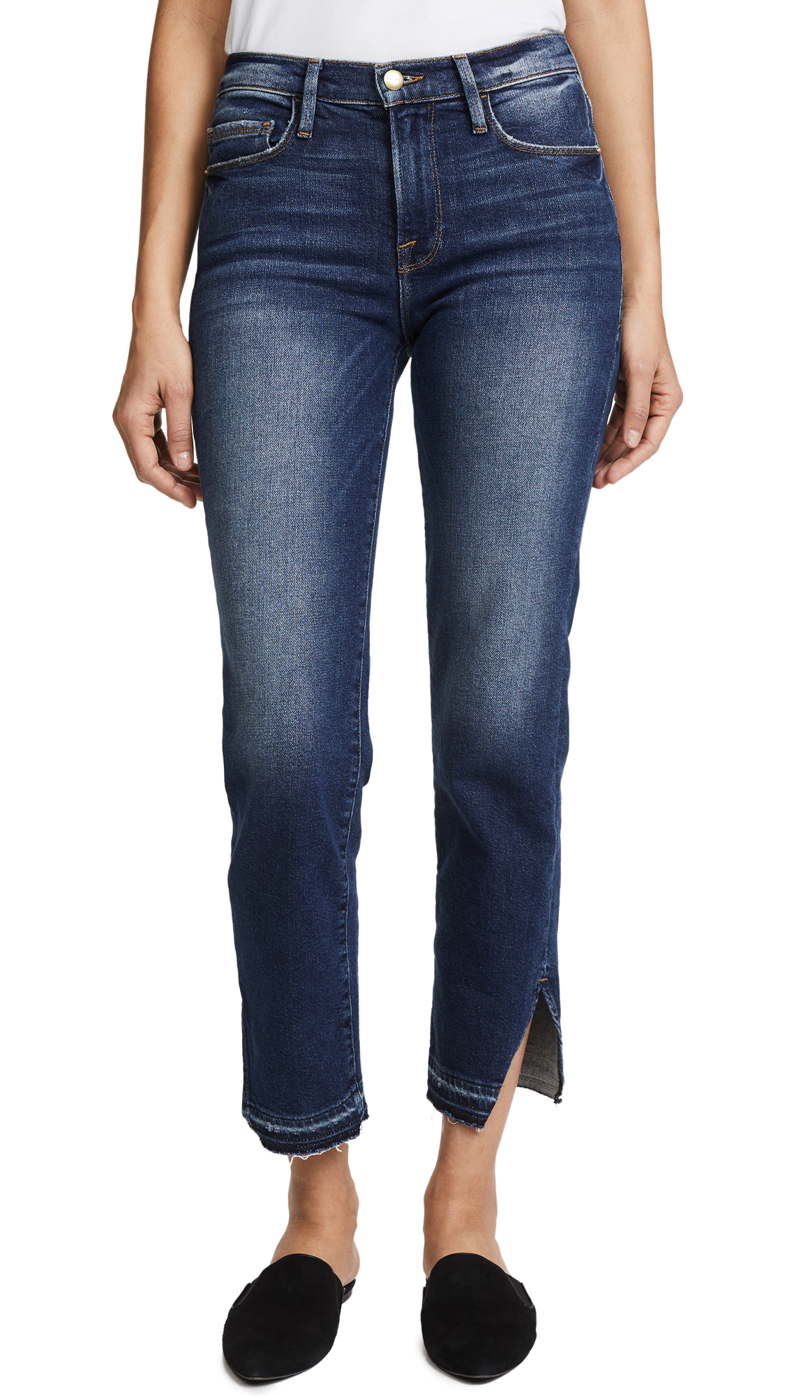 FRAME Le Nouveau Straight Jeans with Raw Triangle Cutout In Granby