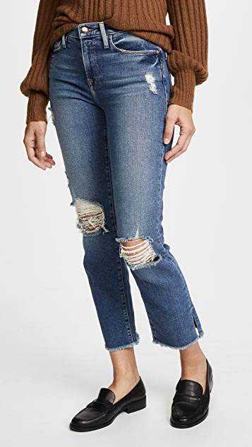 FRAME Le Nouveau Straight Jeans with Raw Edge Slit
