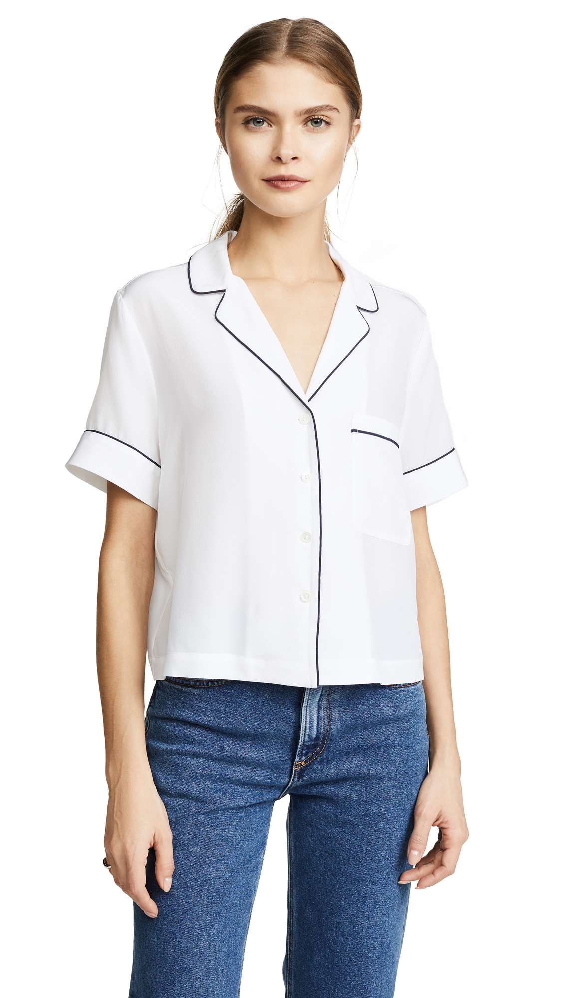 FRAME PJ Blouse - Blanc With Navy Piping