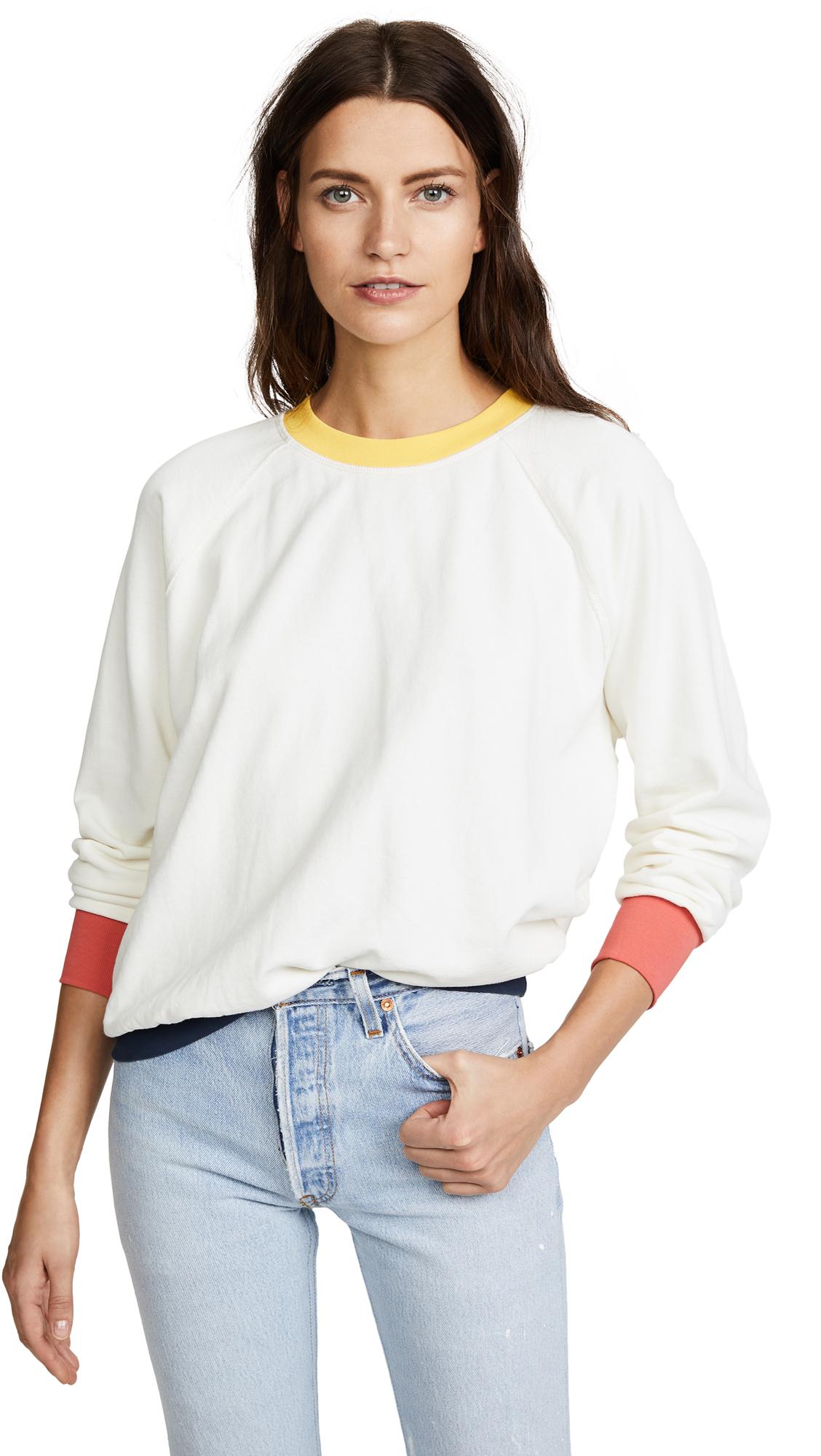 FRAME Colorblock Sweatshirt In Off White Multi