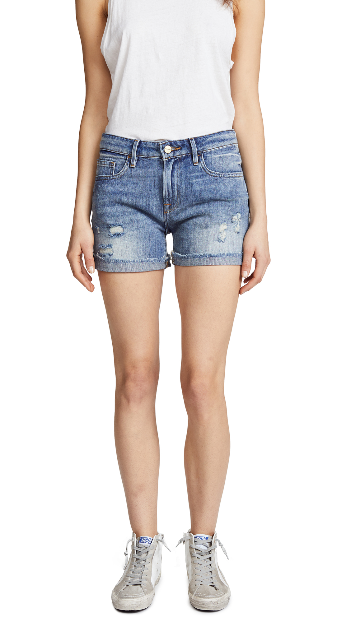 FRAME Le Grand Garcon Shorts with Rivets