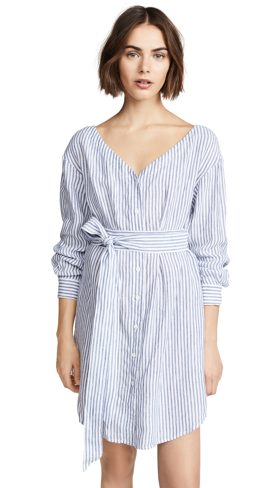 FRAME Belted Poplin Dress