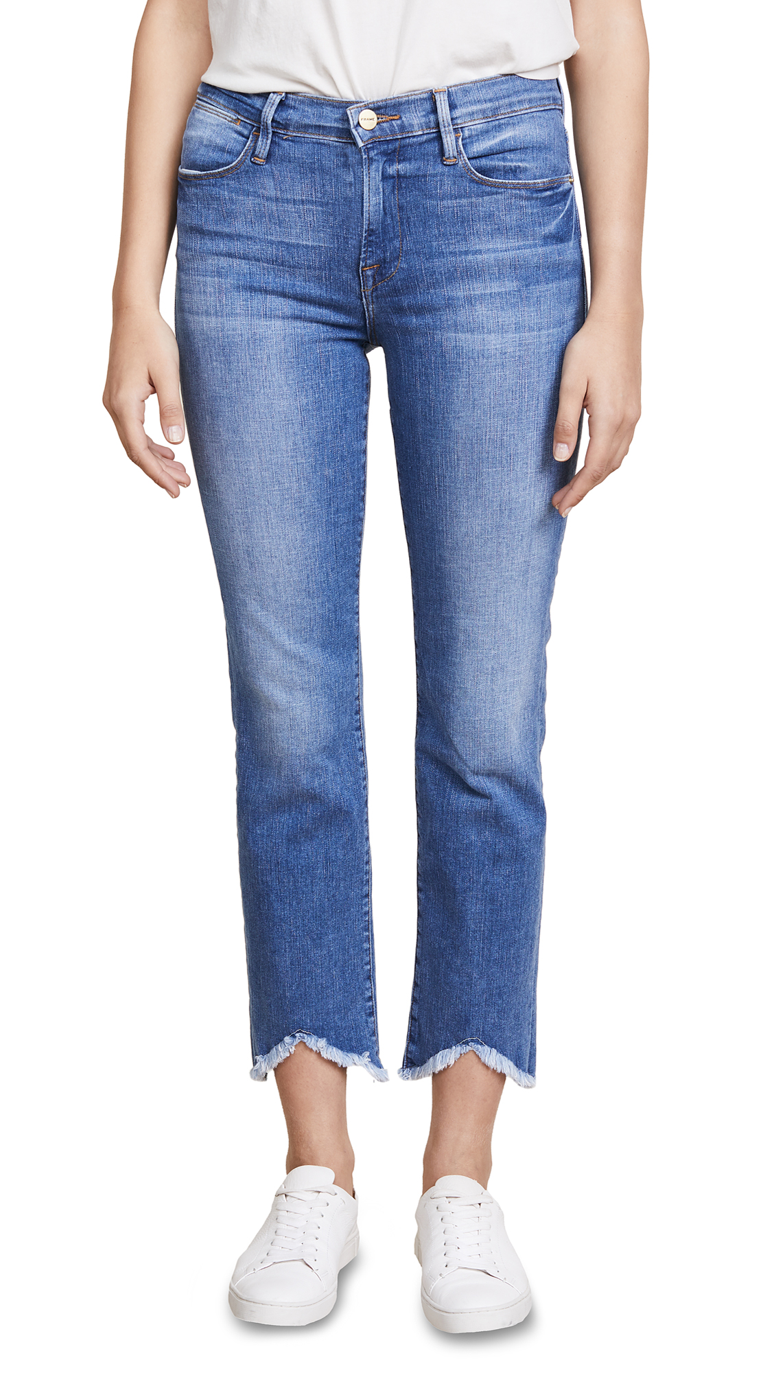 FRAME Le High Straight Jeans with Triangle Hem