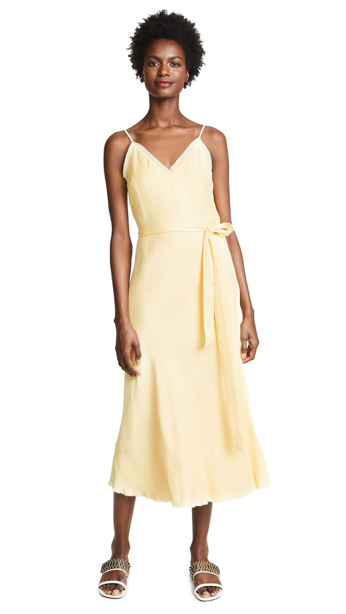 FRAME Tie Slip Dress In Golden Haze