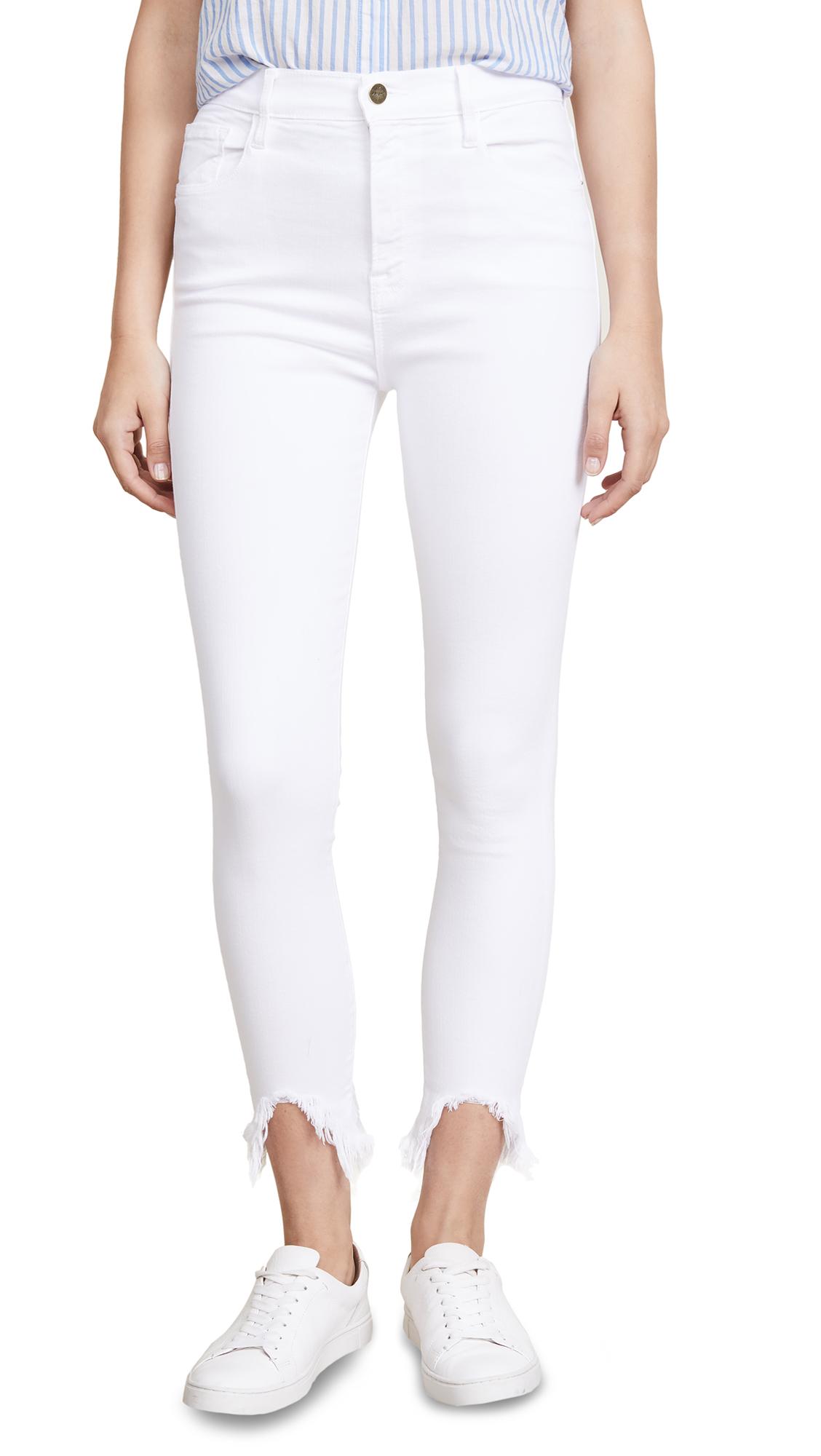 FRAME Ali Cigarette Jeans with Stiletto Hem In Blanc