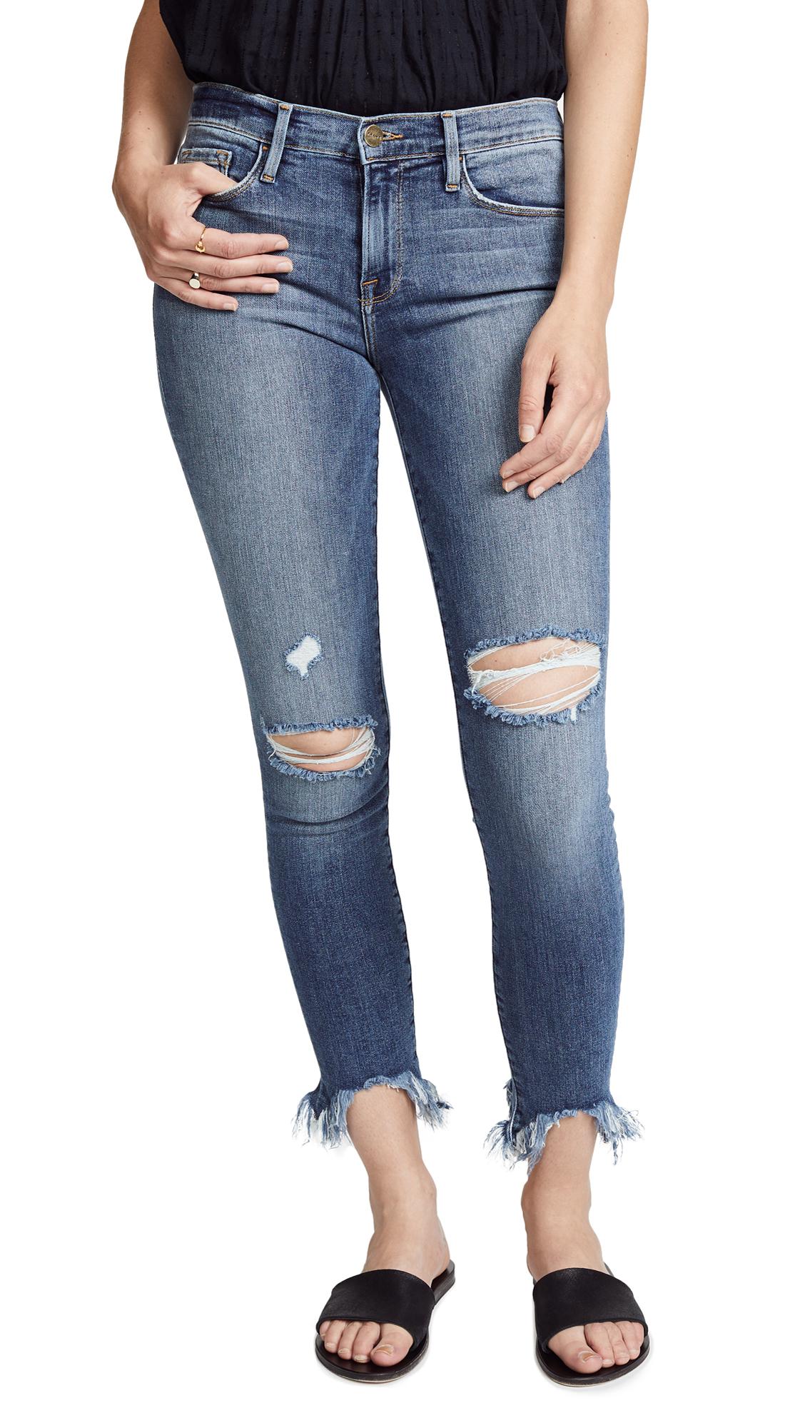 FRAME Le Skinny De Jeanne Raw Edge Faded Jeans In Knickerson