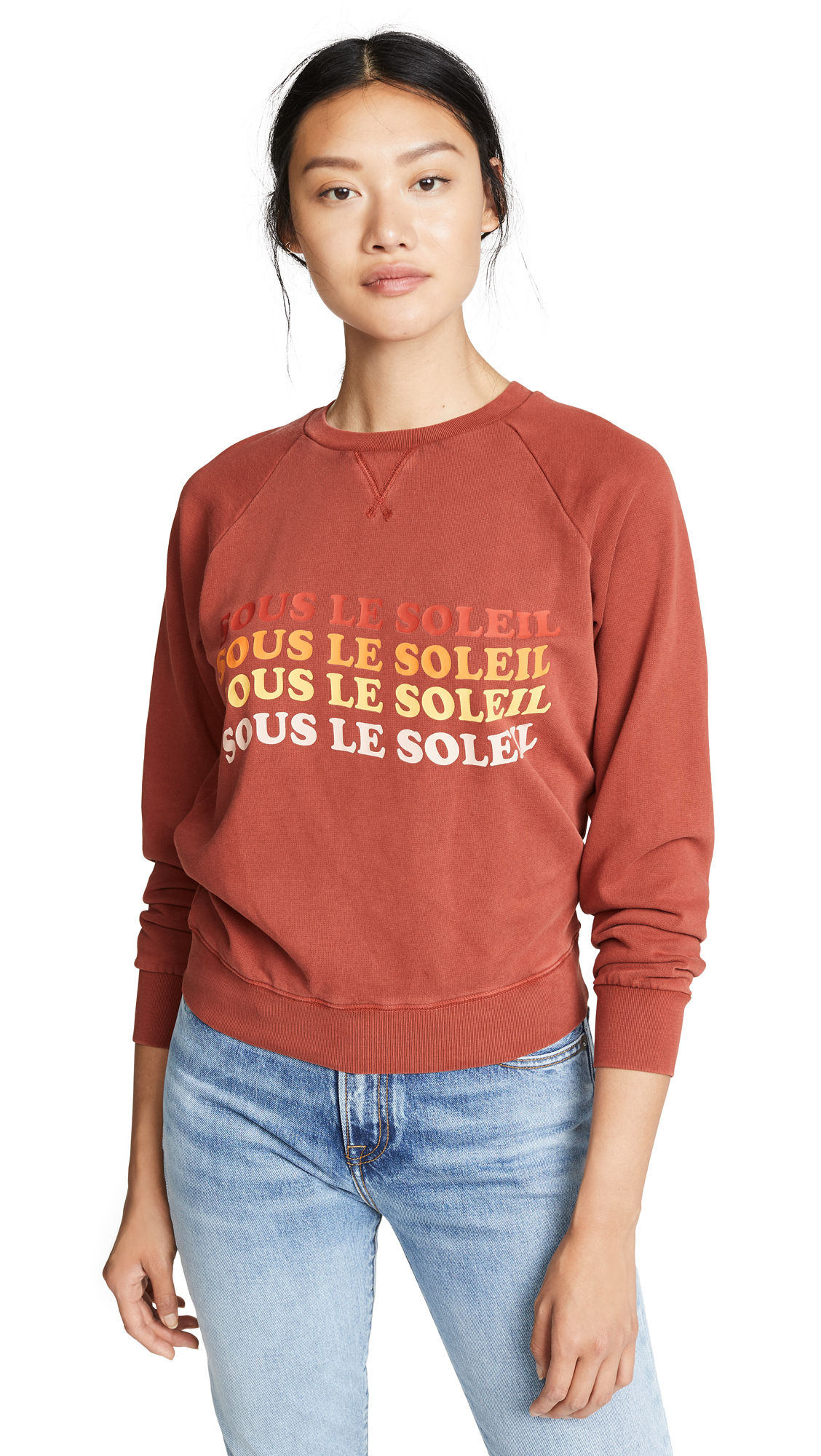 FRAME Sous Le Soleil Sweatshirt In Faded Burnt Henna