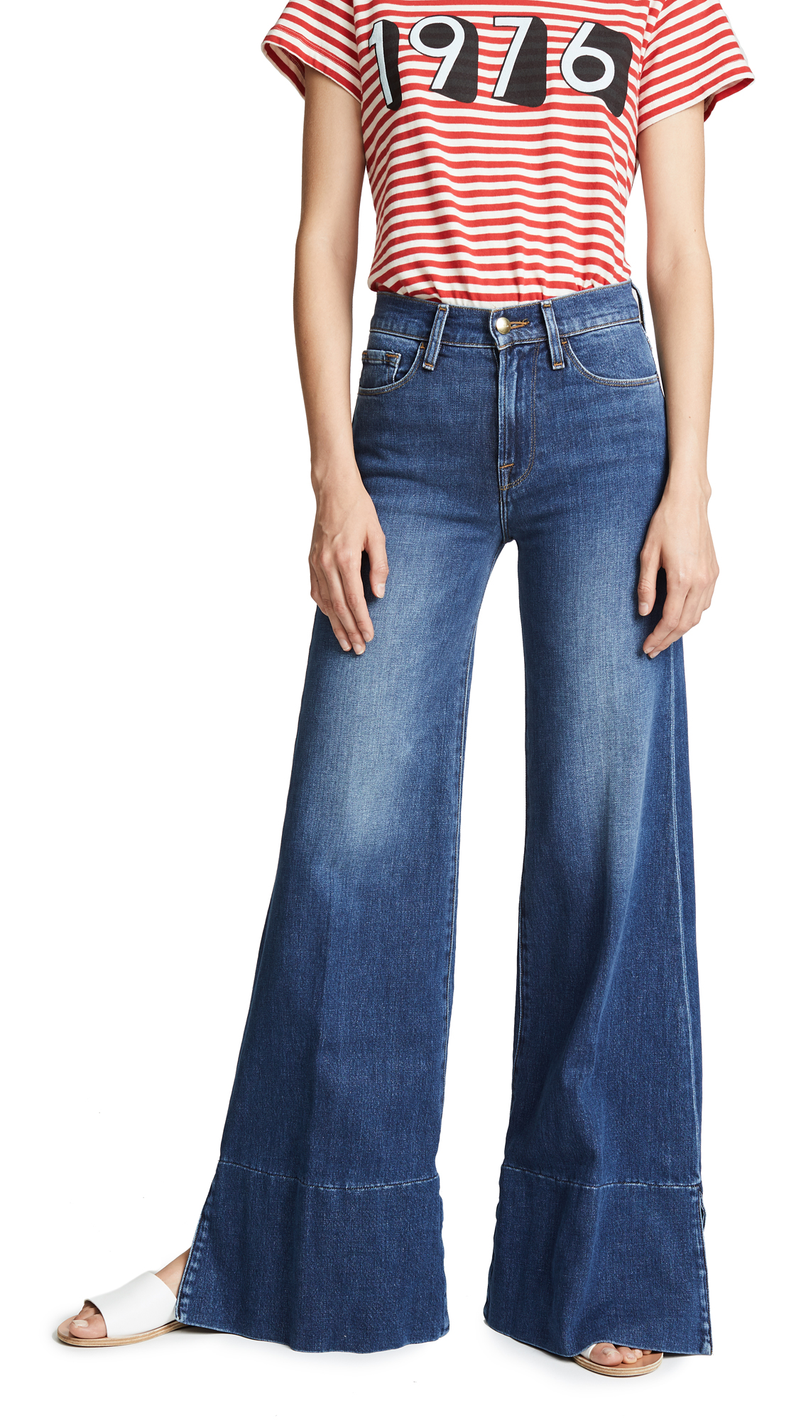 FRAME Palazzo Pants with Panel Slit - Fisher Beach