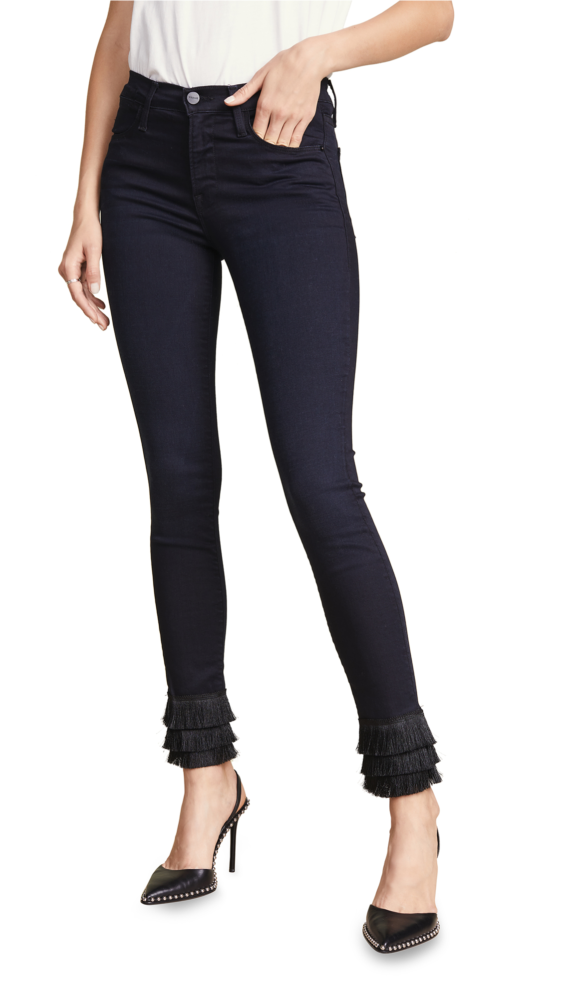FRAME Le High Skinny Triple Fringe Jeans - Byxbee