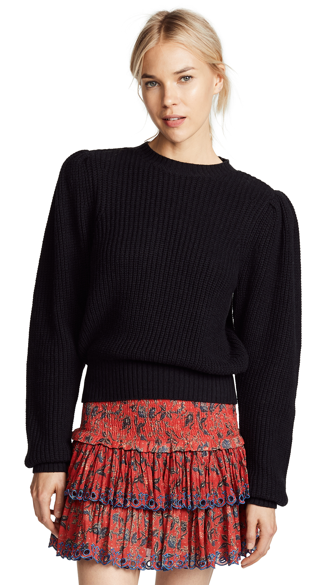 FRAME Cropped Crew Pullover - Black