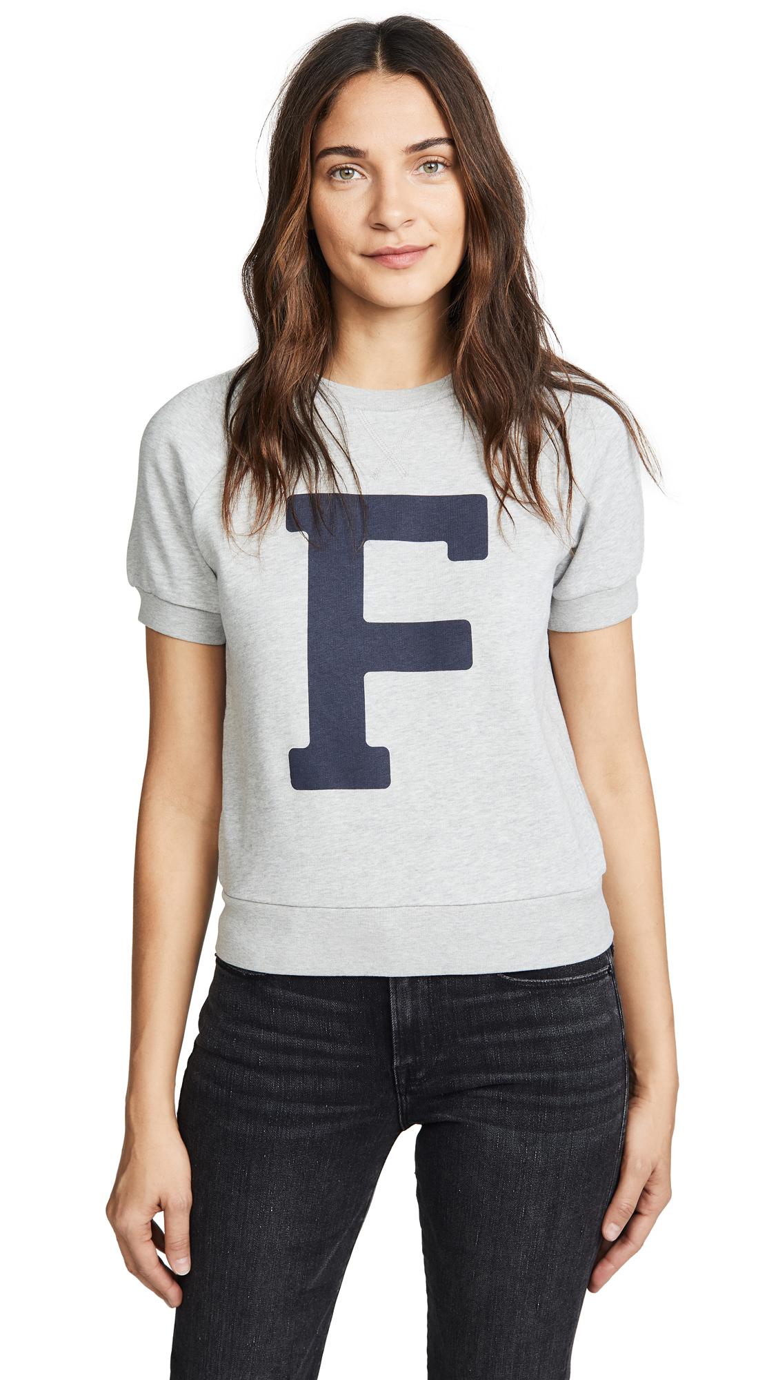 FRAME Varsity Short Sleeve Sweatshirt In Gris