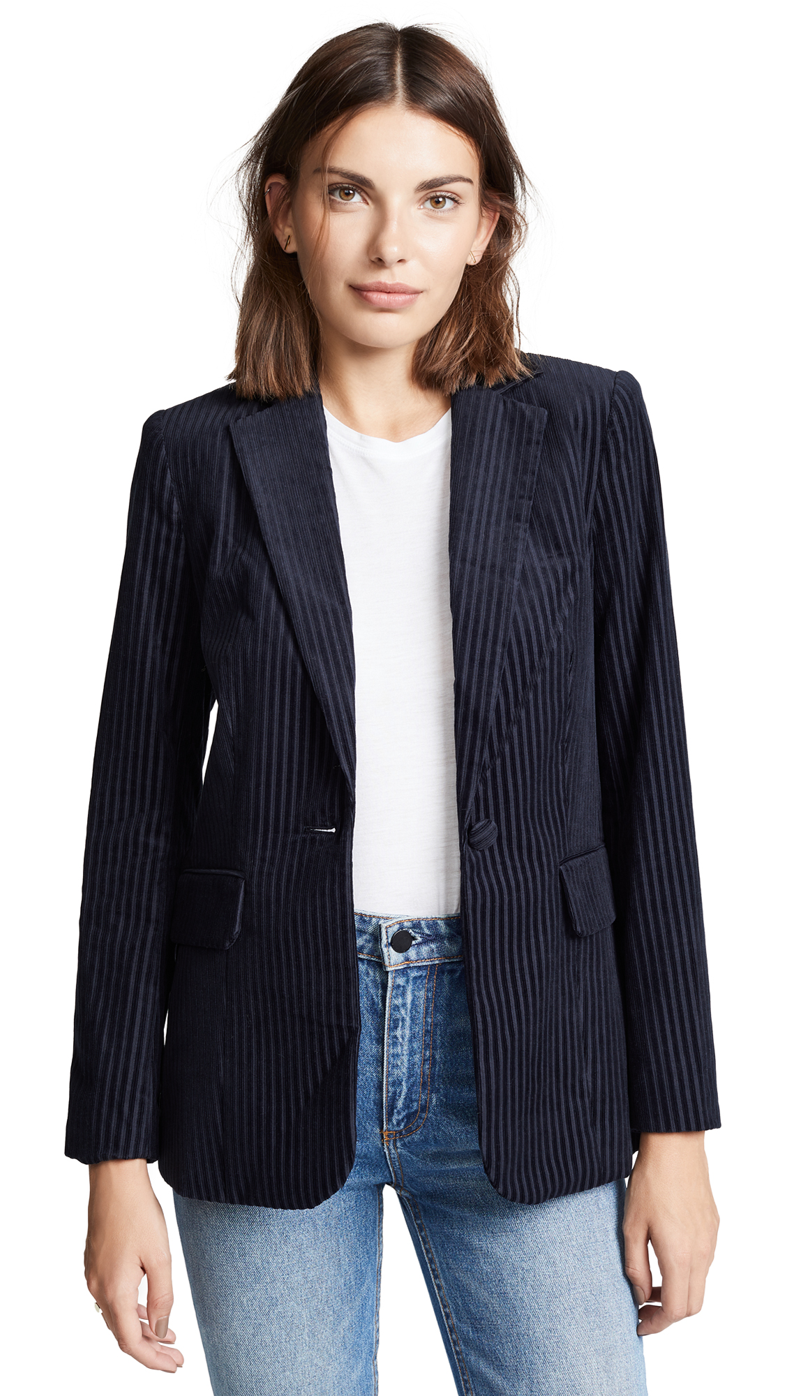 Variegated Ribbed Corduroy Jacket, Fall Navy