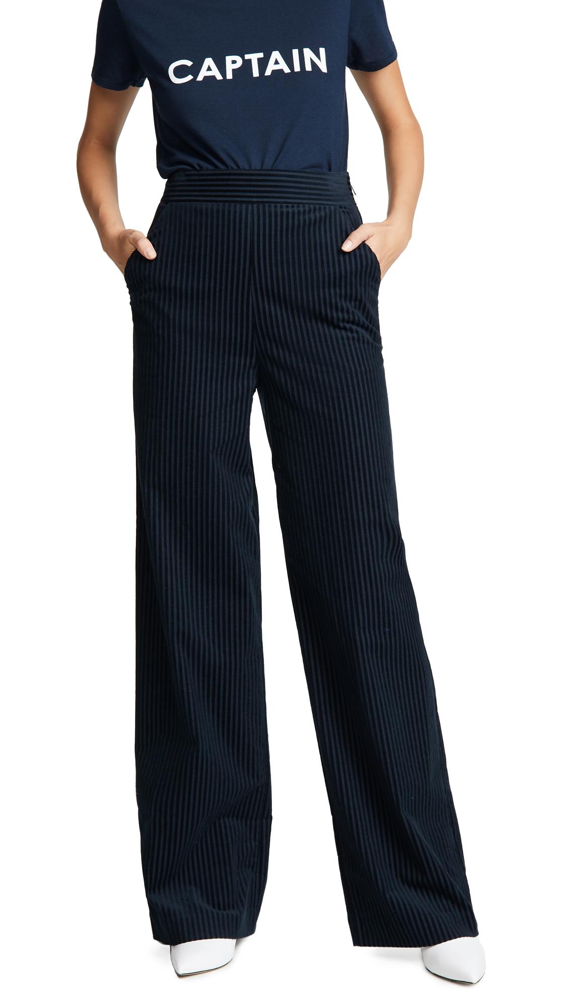 FRAME Fine Variegated Wide Leg Pants - Navy