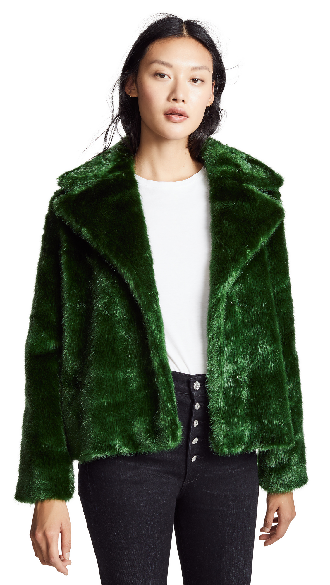 FRAME Notched Collar Fur Coat In Eden