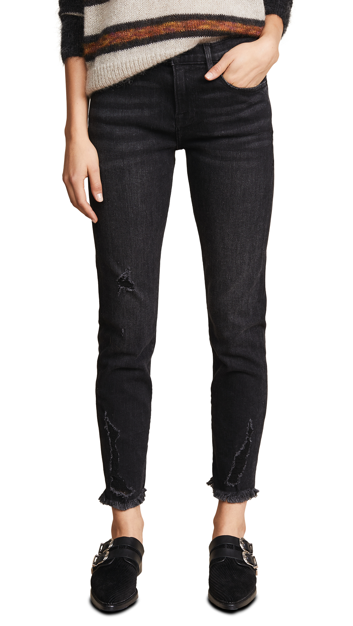 FRAME Le Boy Raw Edge Jeans In Skeleton