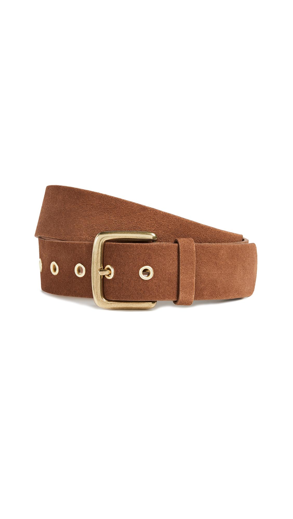 Square-Buckle Leather Grommet Belt in Cognac