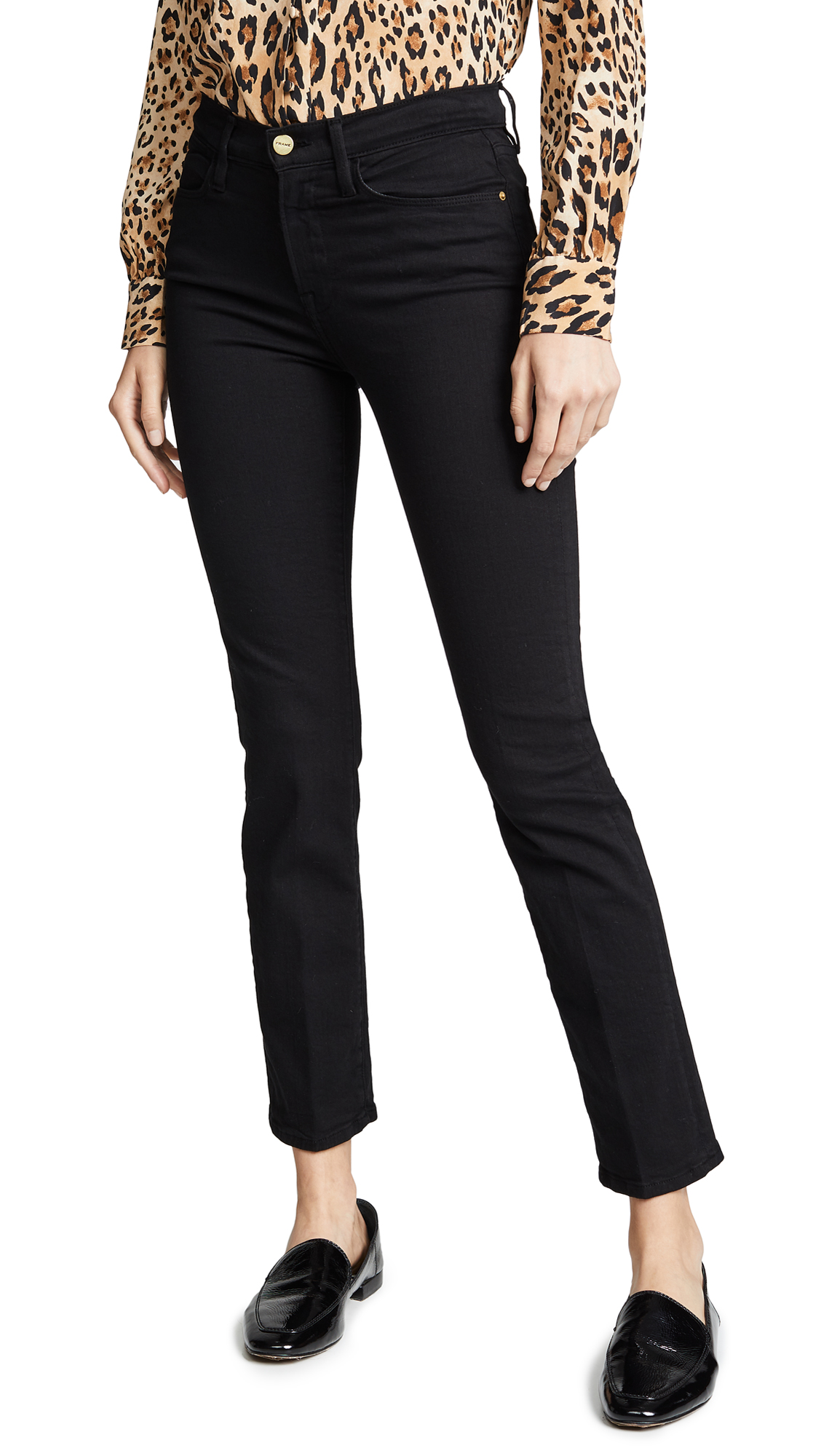 FRAME Le High Straight Jeans In Film Noir