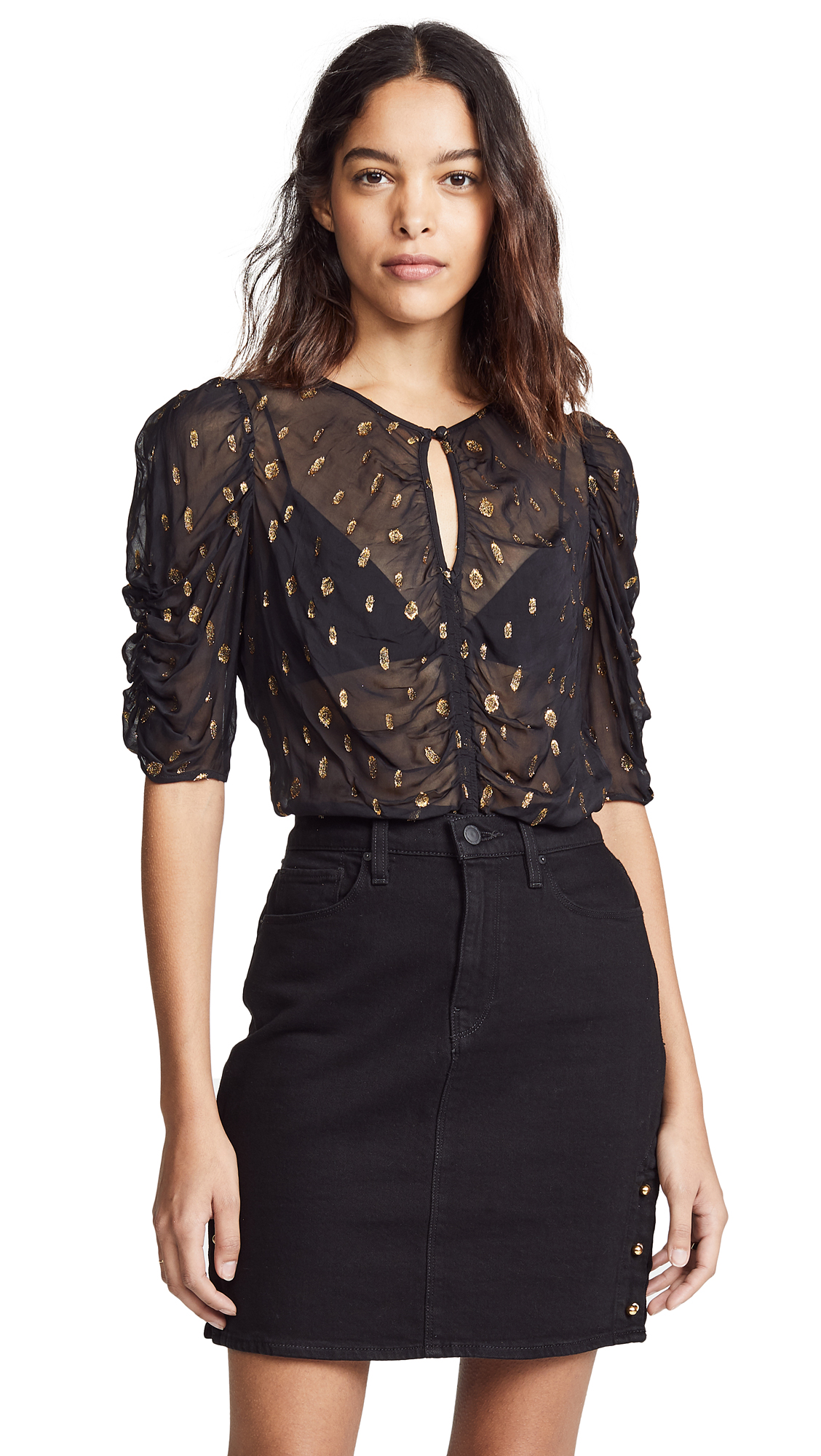 FRAME Fil Coupe Ruched Blouse in Noir
