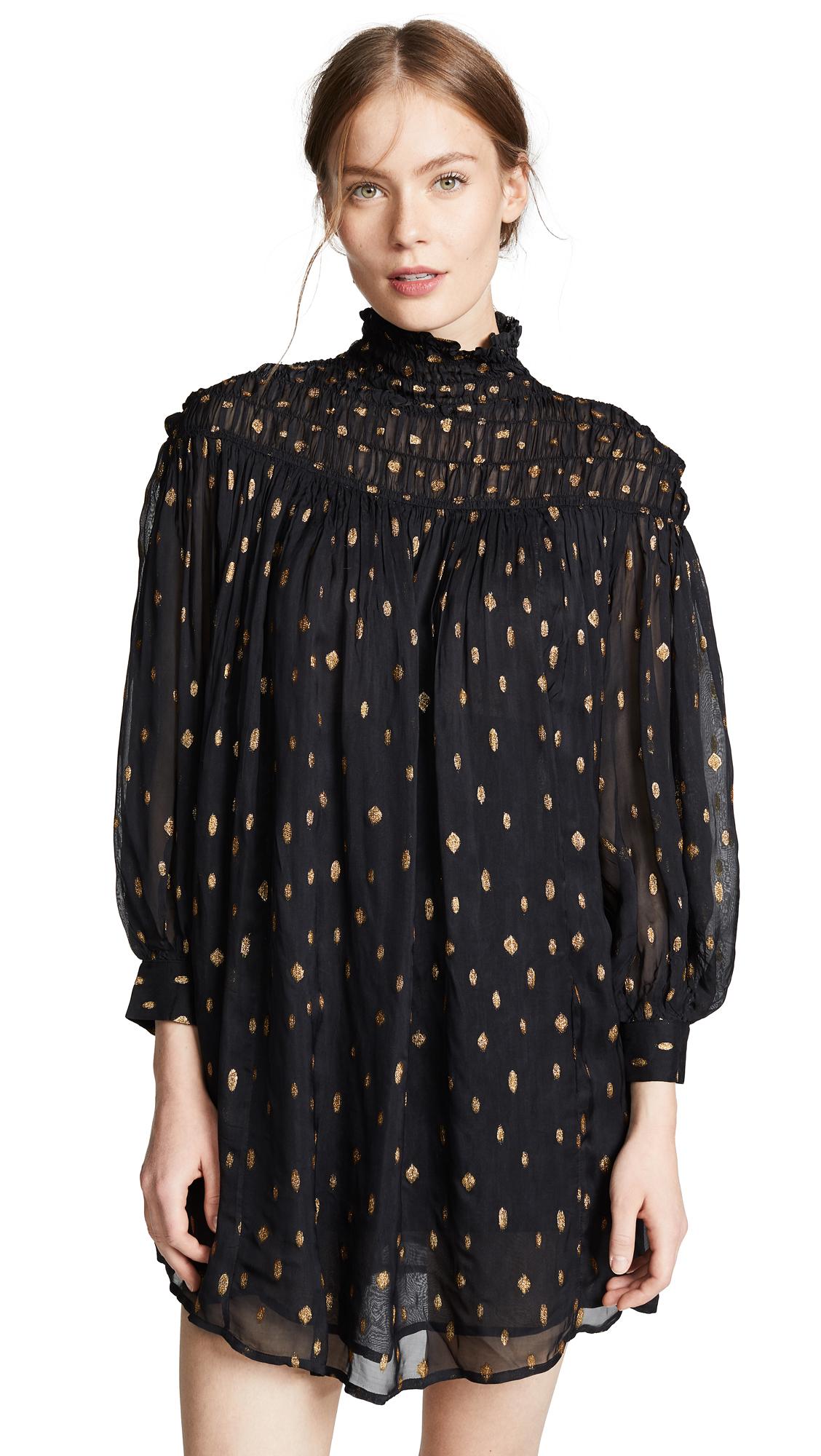 FRAME Smocked Long Sleeve Dress - Noir