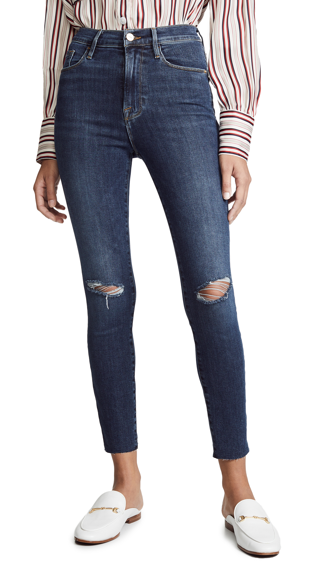 FRAME Ali High Rise Skinny Cigarette Raw Jeans - Brokedown Place