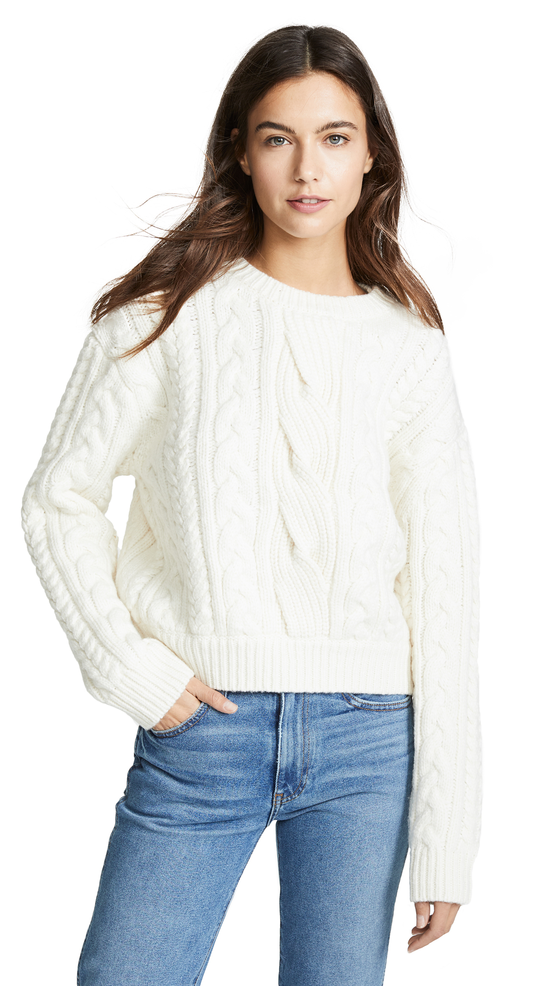 FRAME Cable-Knit Wool-Blend Sweater in Off White