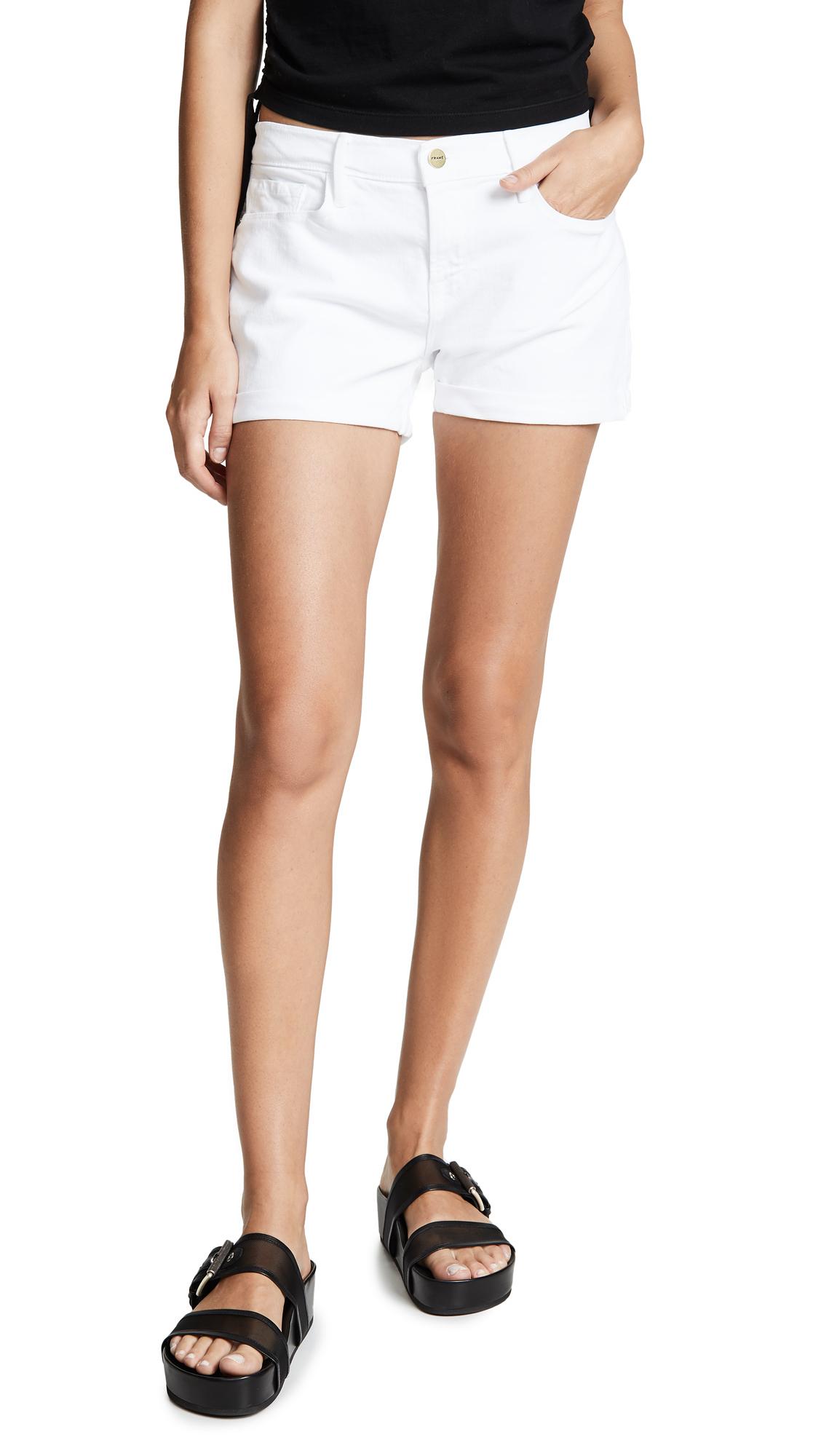 FRAME Le Cutoff Cuffed Shorts - Blanc