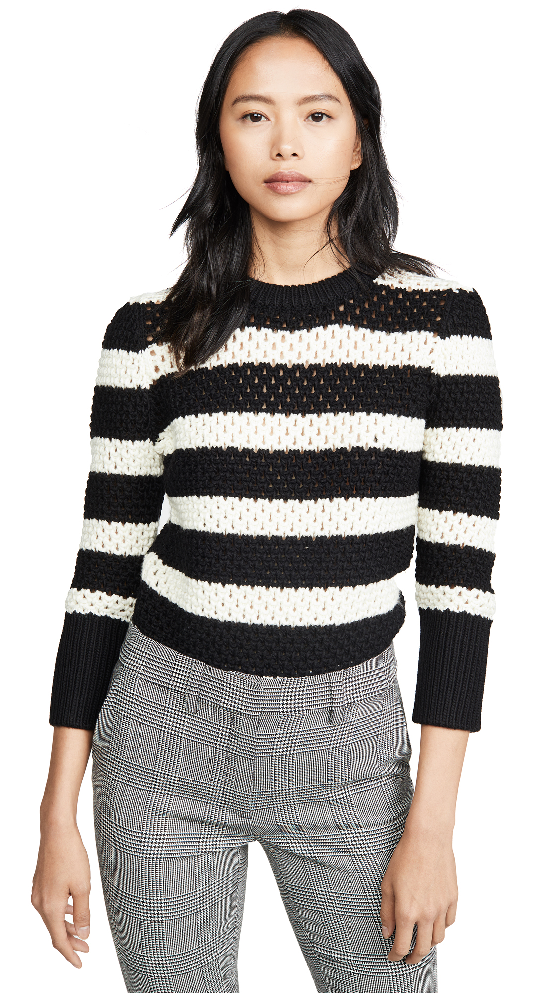 Buy FRAME online - photo of FRAME Striped Open Knit Crew